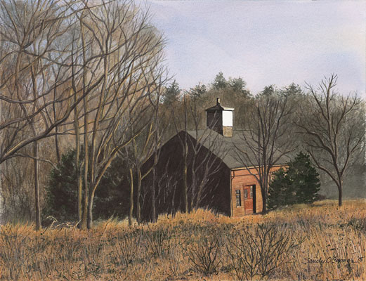 painting of red barn