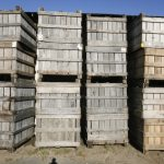 stacks of apple crates by Catherine Stroud
