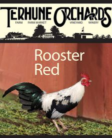 rooster red wine label