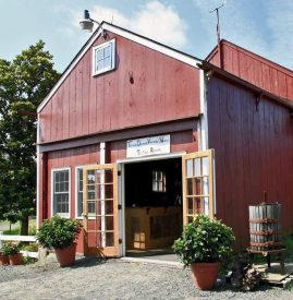 Terhune Orchards wine tasting room and wagon