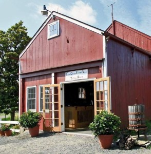 Terhune Orchards wine tasting room and wagon