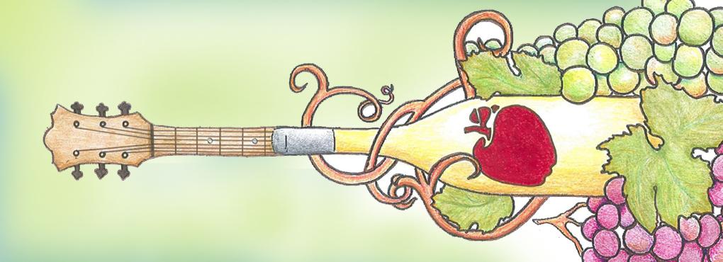 wine bottle as guitar