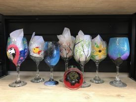 many painted wine glasses small