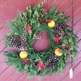wreath on barn