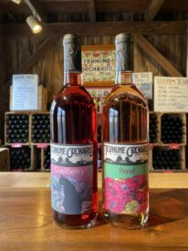 cranberry and rosé wines in tasting room