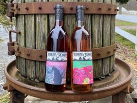 rosé and cranberry wines outside