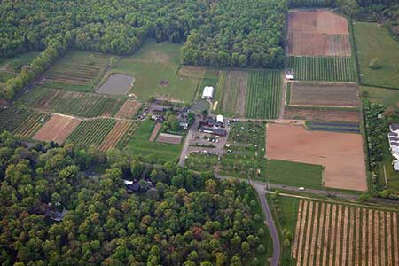 Aerial view of Terhune Orchards